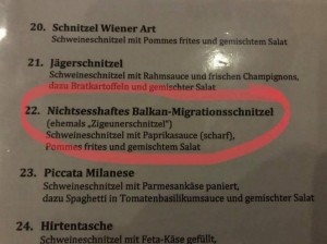 Zigeunerschnitzel - neuer Name